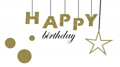 Happy birthday animation. Gold letters. Video animation Stock Footage