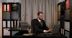 Handsome Business Man Looking Pie Chart Checking Data Cooperation Team Office Stock Footage