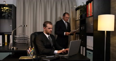 Business People Analyzing Economic Investment Strategy Company Workplace Office Stock Footage