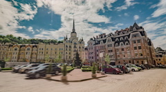 Kiev Motion Timelapse, Mansions in Podil in Kiev Stock Footage