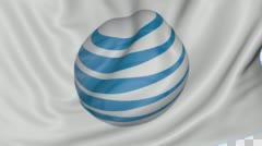 Close up of waving flag with American Telephone and Telegraph Company AT&T logo Stock Footage