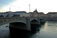.bridge over the Rhine in December in basel Stock Photos