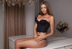 Young sexy woman in black lingerie. Big boobs Stock Photos