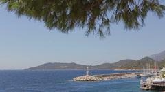 Mediterranean sea coast Lighthouse seaport Slow mo Stock Footage