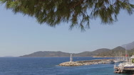 Mediterranean sea coast Lighthouse seaport Slow mo Stock Footage