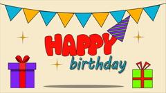 Happy birthday animation. Video animation Stock Footage