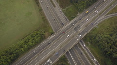 Two busy highways with high traffic still vertical shot. Aerial view Arkistovideo