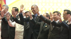 Obama and Asean Leaders Wave Stock Footage