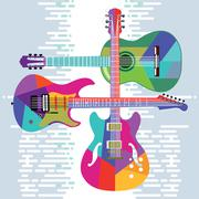 Acoustic and electric guitars set Stock Illustration
