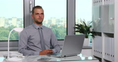 Chief Executive Officer Look Interview Affirmative Response Inside Place Office Stock Footage