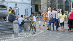 Fun day for children in the city center Stock Footage