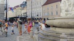 Lively day in the city center of the capital of Ljubljana Stock Footage