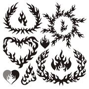 Collection of vector flame elements. Stock Illustration