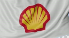 Close up of waving flag with Shell Oil Company logo, seamless loop, blue Stock Footage