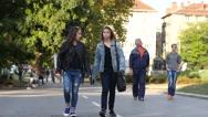 Cute teenager student girl friends walking speaking communicate down park alley Stock Footage