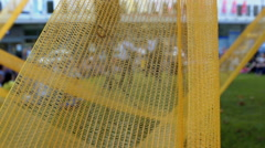 Yellow net which is used as a decoration for the stage Stock Footage