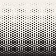 Vector Seamless Black and White Transition Halftone Hexagonal Grid Pattern Stock Illustration