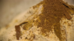 Flour hill with turmeric and spice close up Stock Footage