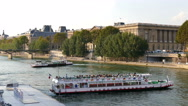 Paris. Tour boats turning on the River Seine. Stock Footage