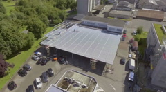 Solar shading system on the roof of an indoor parking lot Stock Footage