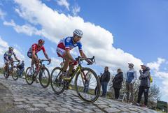 Hornaing ,France - April 10,2016: Inside the Peloton - Paris Roubaix 2016 Stock Photos