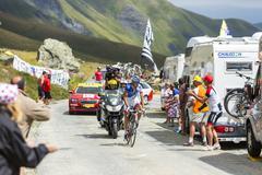 Col de la Croix de Fer, France - 25 July 2015: The Cyclist Alexandre Geniez Stock Photos
