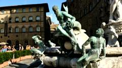 Sea statue, Piazza della Signoria. Florence,Italy Stock Footage