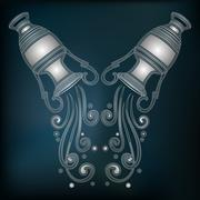 Silver amphora, zodiac Aquarius sign Stock Illustration