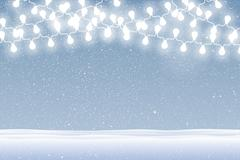 Vector snow falling on blue background. Garlands. Stock Illustration