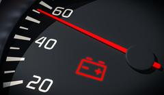 Discharged battery warning light in car dashboard. 3D rendered illustration.  Stock Photos