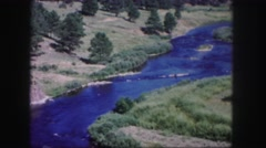 1958: gorgeous vista mountain river adventure forest wild explore canyon Stock Footage