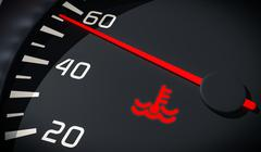 Engine overheating control. Coolant warning light in car dashboard. 3D render Stock Photos