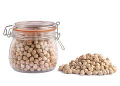 Mason jar containing  chickpeas Stock Photos