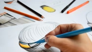 Designer sketching wearable devices Stock Footage