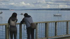 Unidentifiable couple on pier at Port Townsend Stock Footage