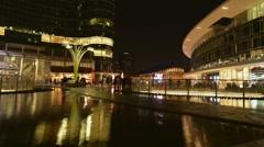 Milan, Italy: Gae Aulenti square in Porta Nuova Varesine district. Night view. Stock Footage