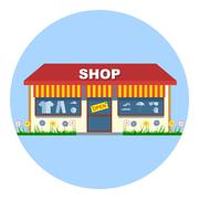 Digital vector shop storefront with open sign Stock Illustration