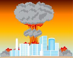 Nucleus blast and city Stock Illustration