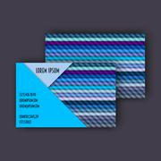 Business card template with 3D paper colorful lines Stock Illustration