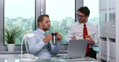 Successful Businessmen Eating Breakfast Drink Coffee and Tea Lunch Break Office Stock Footage