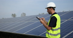 Worker Man Polyvalent Hand Writing Clipboard Calculate Photovoltaic Cells Power Stock Footage