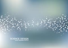 Structure molecule of DNA and neurons. Structural atom. Chemical compounds Stock Illustration