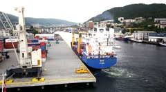 BERGEN DOCK CARGO SHIP BERTHING Stock Footage