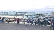 Bicycle parking against ferry pier in Helsinki South Harbor Stock Footage