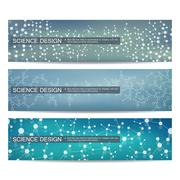 Set of modern scientific banners. Molecule structure DNA and neurons. Abstract Stock Illustration