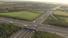 Two highway bridge intersection, forward motion. Aerial view Stock Footage