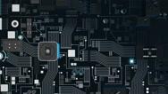 Bluish Metallic Futuristic Circuit Board top shot Stock Footage