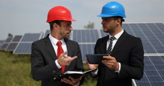 Supervisor Business Men Team Browsing Reading Agenda Electricity Production Area Stock Footage