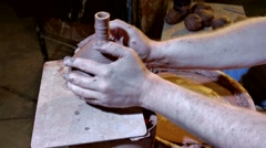 Pottery workshop, working process, close up, male hands Stock Footage