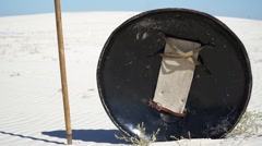 Shield and spear in the sand Stock Footage